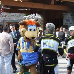 Mont Tremblant mascot Toufou, mingling with the riders