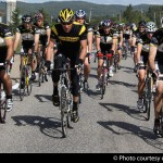Lance Armstrong leads the pack along the 100km ride
