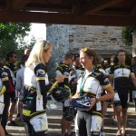 Riders awaiting Lance Armstrong's press conference outside Hotel Quintessence