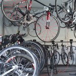 Road bike staging area before the tour ride