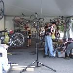 Mechanics preparing bikes for the riders