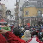 The Olympic flame heads towards the mountain